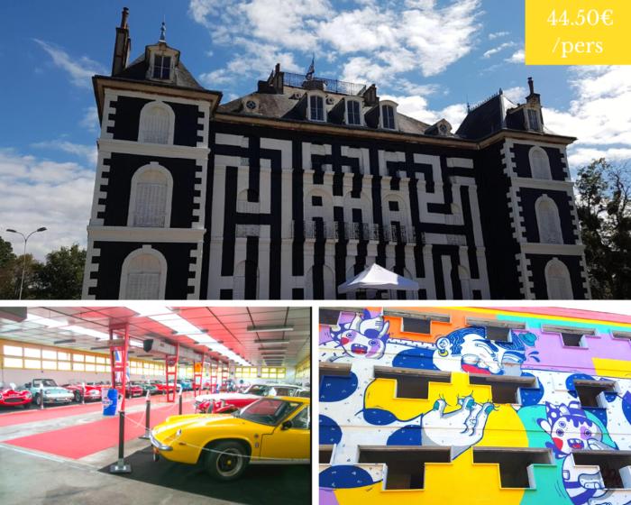 excursion groupe voitures anciennes et Street art, Château deLabel Valette, autosportmuseum